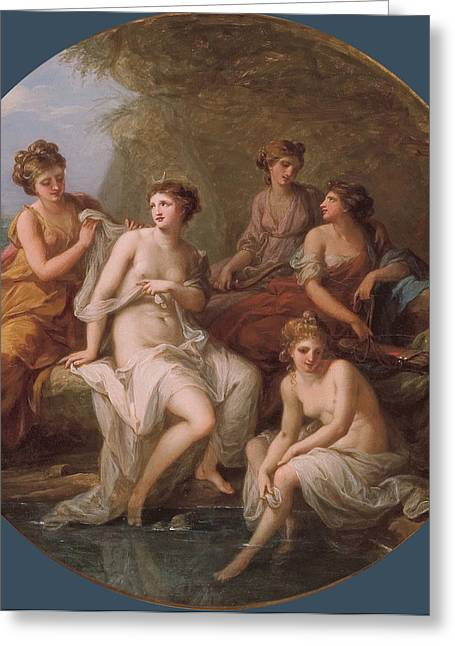 Diana And Her Nymphs Bathing Greeting Card by Angelica Kauffmann
