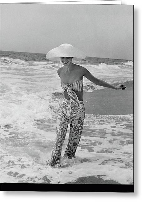 Diana Ewing Playing At A Beach Greeting Card by John Shannon
