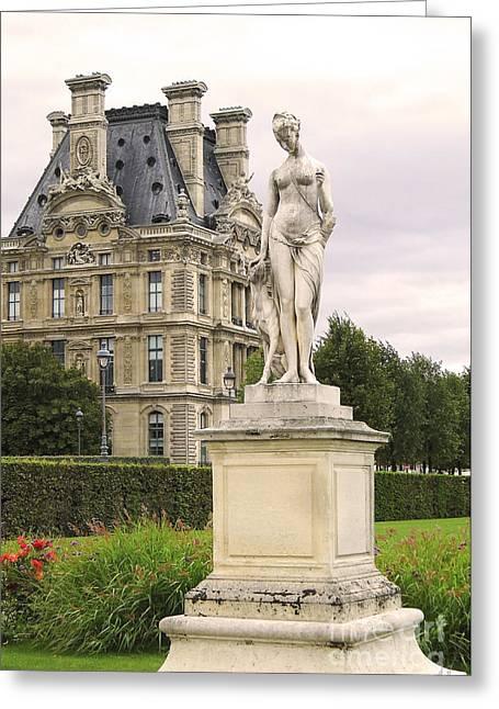 Diana Huntress Tuileries Garden Greeting Card by Victoria Harrington