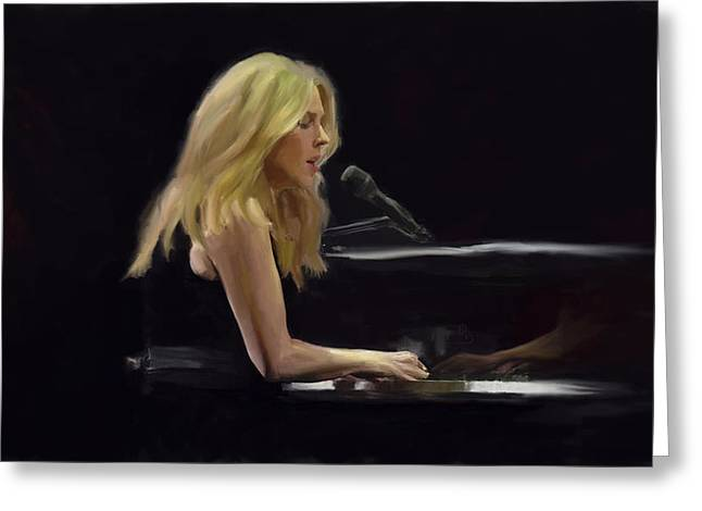 Diana Krall Greeting Card by G Cannon