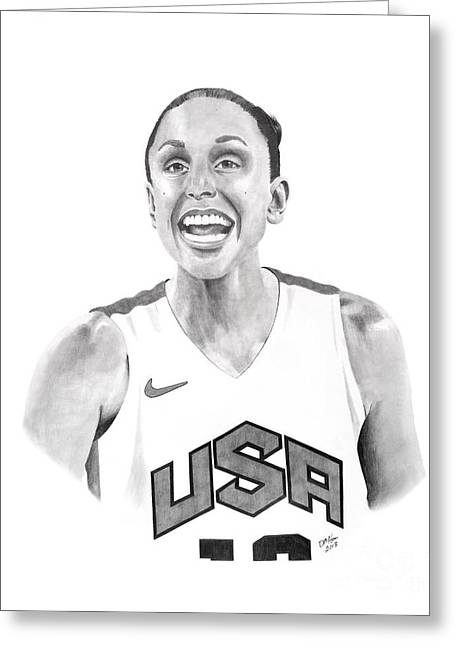 Diana Taurasi Usa Greeting Card by Devin Millington