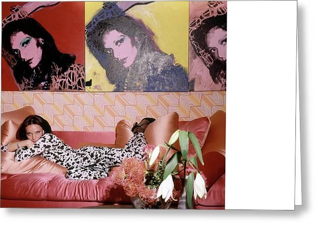 Diane Von Furstenberg In Her New York Living Room Greeting Card by Horst P. Horst