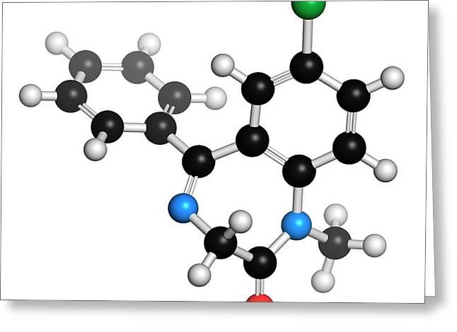 Diazepam Benzodiazepine Drug Molecule Greeting Card