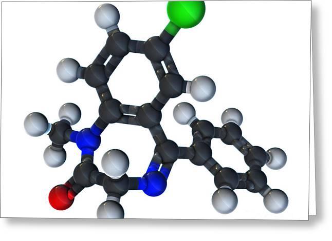 Diazepam Molecular Model Greeting Card by Evan Oto