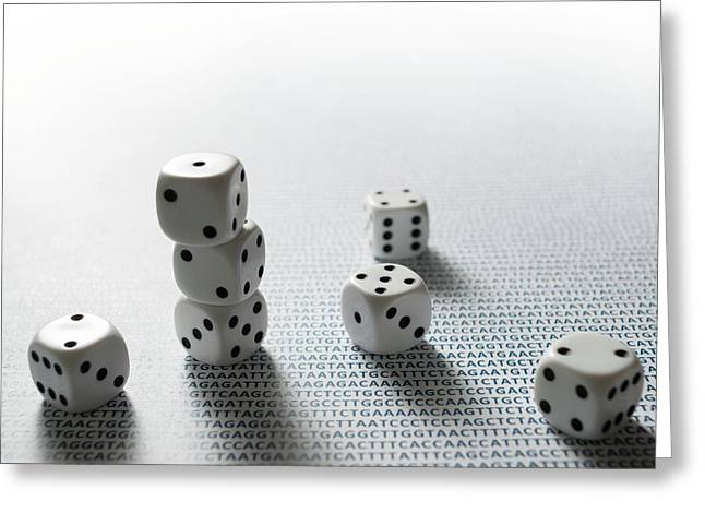 Dice And Dna Greeting Card by Robert Brook