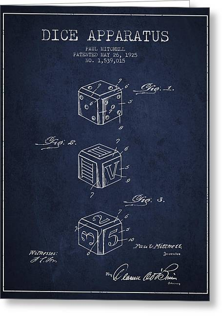 Dice Apparatus Patent From 1925 - Navy Blue Greeting Card by Aged Pixel