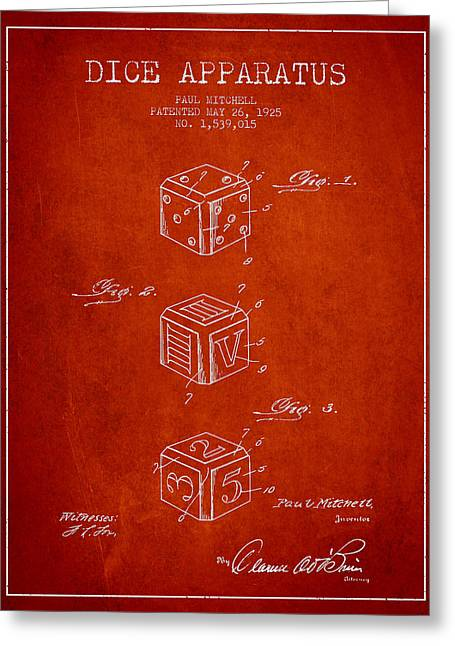 Dice Apparatus Patent From 1925 - Red Greeting Card by Aged Pixel