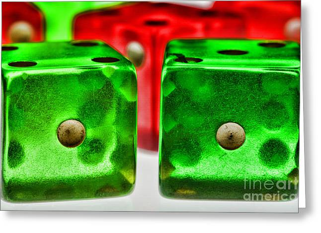 Dice - Craps Greeting Card by Paul Ward