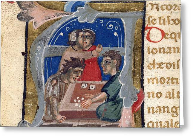 Dice Players, 14th-century Manuscript Greeting Card by British Library