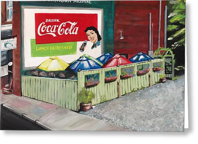 Dick And Jane's Patio Greeting Card by Alicia Tanner