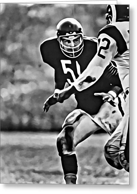 Greeting Card featuring the painting Dick Butkus by Florian Rodarte