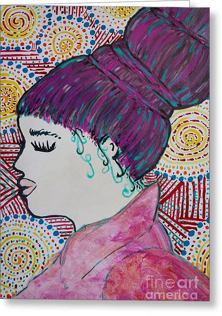 Greeting Card featuring the painting Did You See Her Hair by Jacqueline Athmann