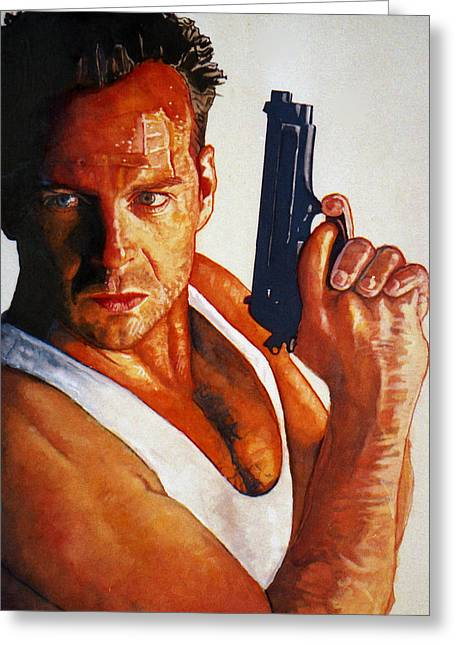 Die Hard Greeting Card by Michael Haslam