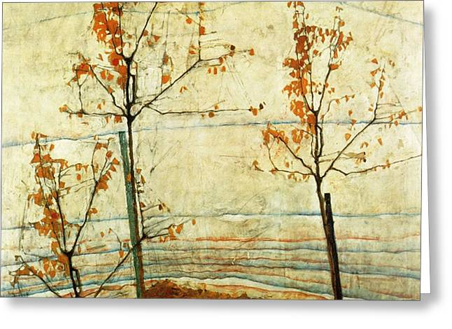 Autumn Trees  Greeting Card by Celestial Images