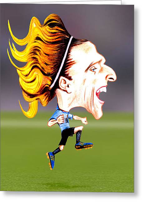 Diego Forlan Greeting Card by Diego Abelenda