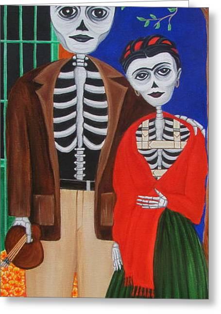Diego Y Frida Blue House Marigolds Greeting Card