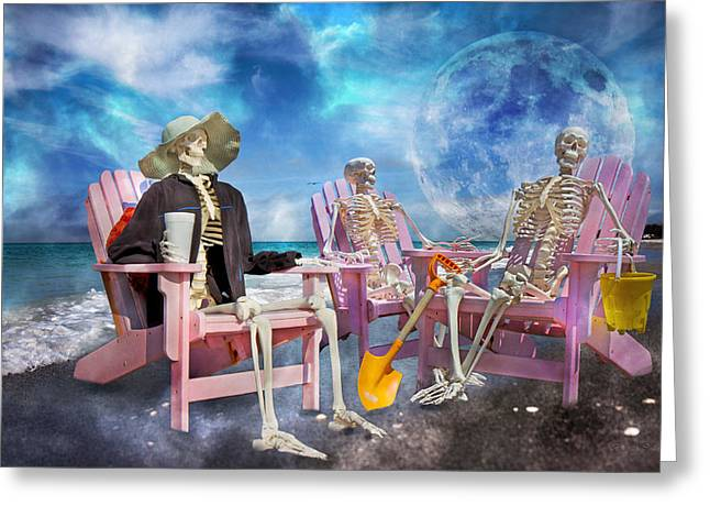 Diehard Beach Bums Greeting Card by Betsy Knapp