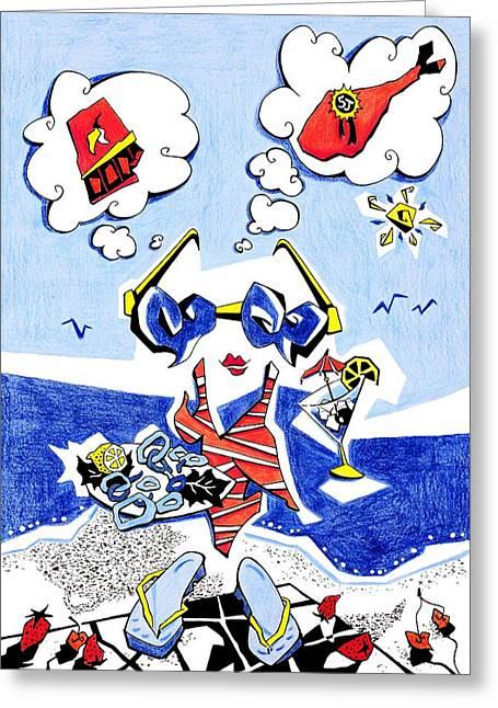 Dieta - Vacaciones Humor Y Ocio Greeting Card by Arte Venezia