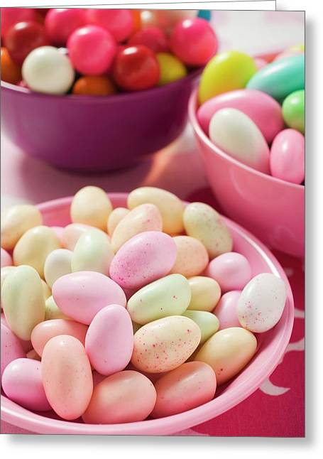 Different Kinds Of Sweets And Bubble Gum Balls In Bowls Greeting Card