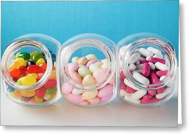 Different Kinds Of Sweets In Three Sweet Jars Greeting Card
