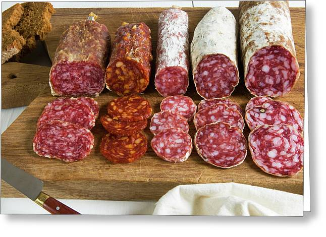 Different Type Of Tuscan Salami Greeting Card by Nico Tondini