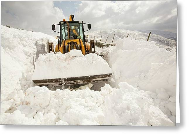 Digger Clearing Snow Drifts Greeting Card