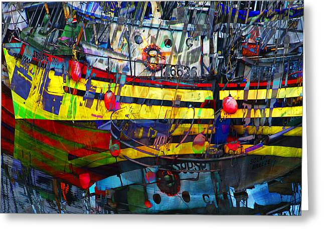 Digital Abstract Composition Of A Yellow Boat In A Harbor Greeting Card