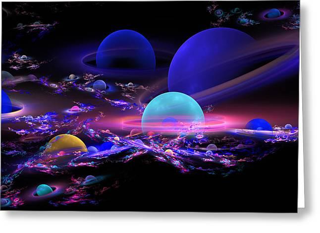 Digital Abstract Fractal Art Planet Spheres Greeting Card