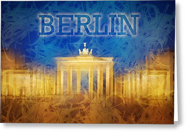 Digital-art Brandenburg Gate II Greeting Card by Melanie Viola