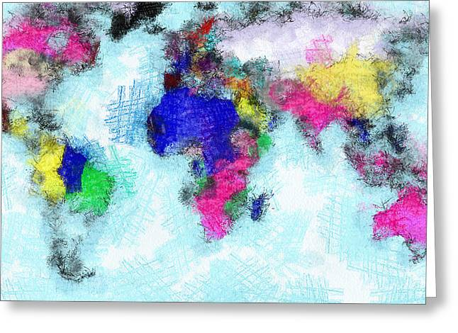 Digital Art Map Of The World Greeting Card