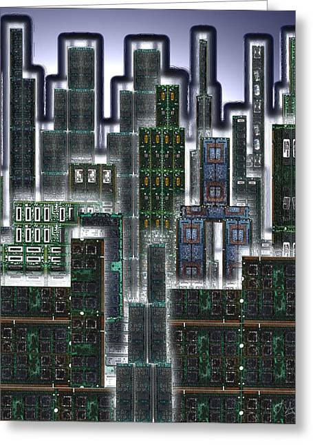 Digital Circuit Board Cityscape 3d - Glow Greeting Card by Luis Fournier