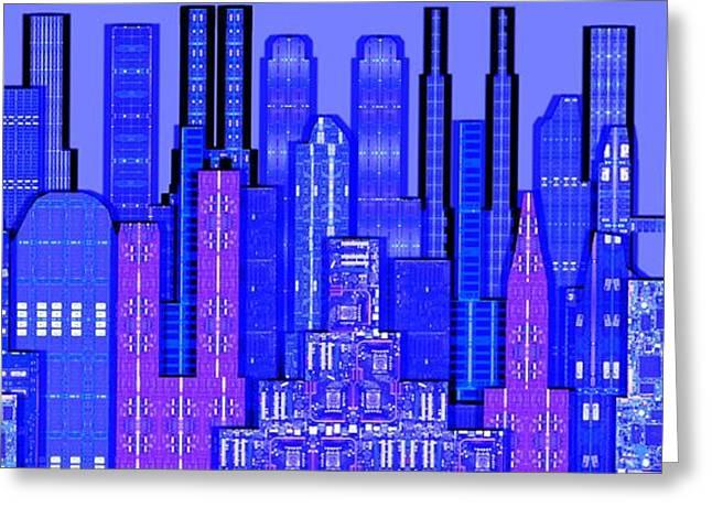 Digital Circuit Board Cityscape 5c - Blue Haze Greeting Card by Luis Fournier