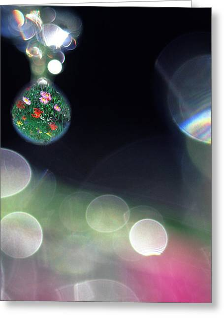 Digital Composite Abstract Of Dew Drops Greeting Card by Jaynes Gallery