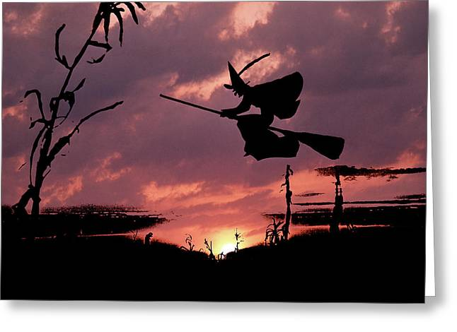 Digital Composite Sunset And Silhouette Greeting Card