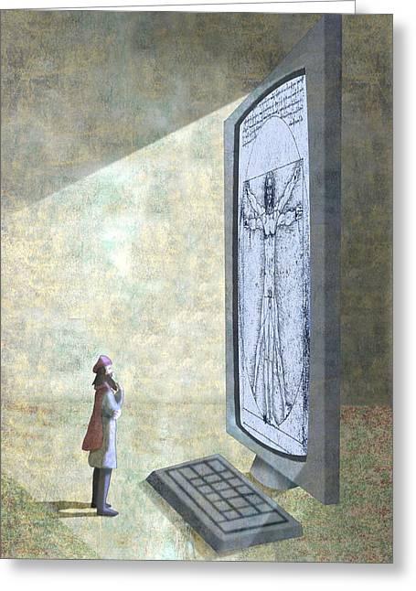 Digital Davinci Greeting Card by Steve Dininno