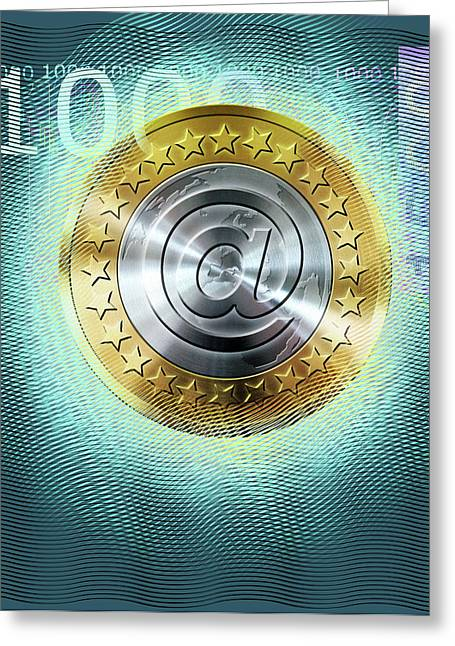 Digital Euro Currency Greeting Card by Smetek
