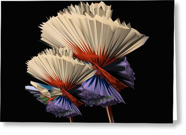 Digital Flower Dance Greeting Card by Colleen Cannon