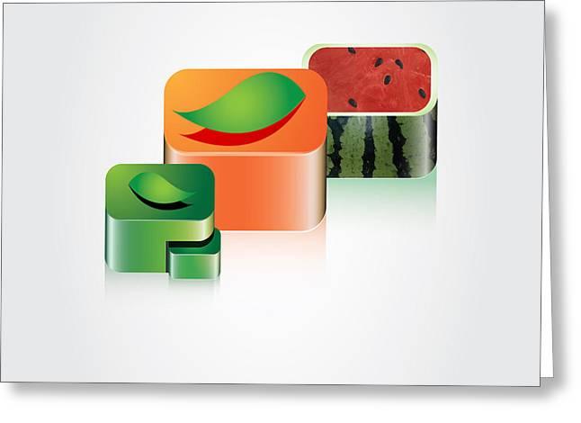 Digital Fruits Greeting Card by Ali ArtDesign