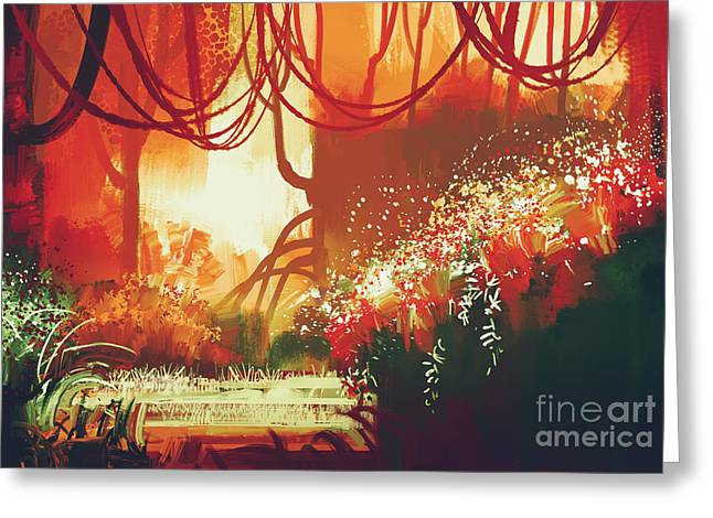 Digital Painting Of Fantasy Autumn Greeting Card by Tithi Luadthong