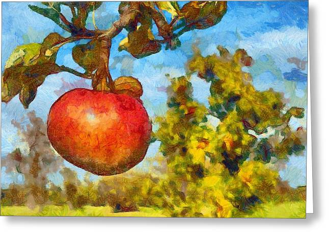 Digital Painting - Red Apple On Branch Of Tree Greeting Card