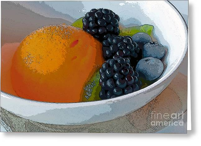 Digital Poster Of Sorbet And Fruit Greeting Card by Beth Wolff