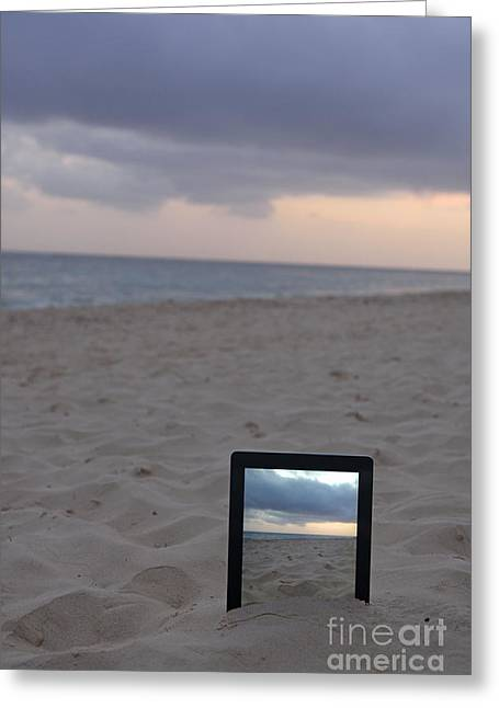 Digital Tablet In Sand On Beach At Sunrise Greeting Card by Sami Sarkis