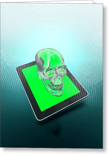 Digital Tablet With A Skull Greeting Card by Victor Habbick Visions