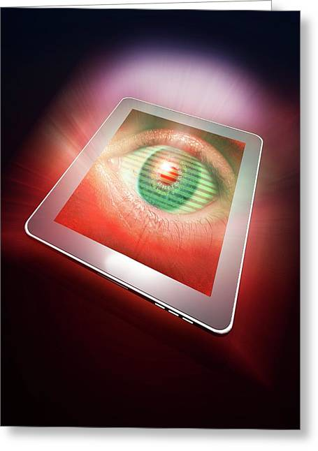 Digital Tablet With Eye Greeting Card by Victor Habbick Visions