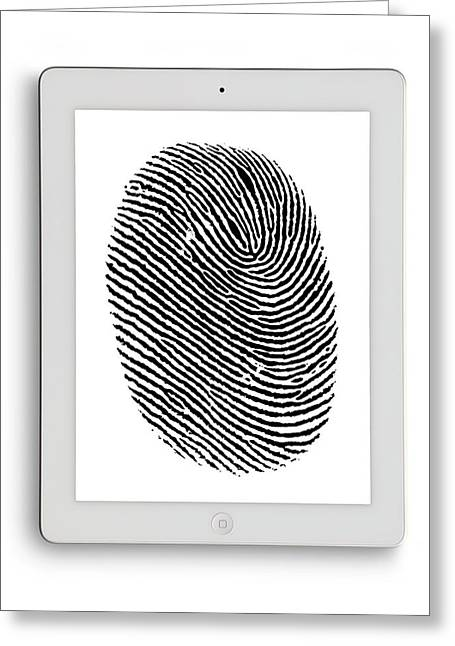 Digital Tablet With Finger Print Greeting Card by Victor De Schwanberg