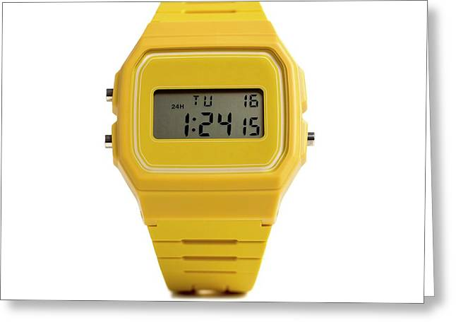 Digital Wristwatch Greeting Card by Science Photo Library