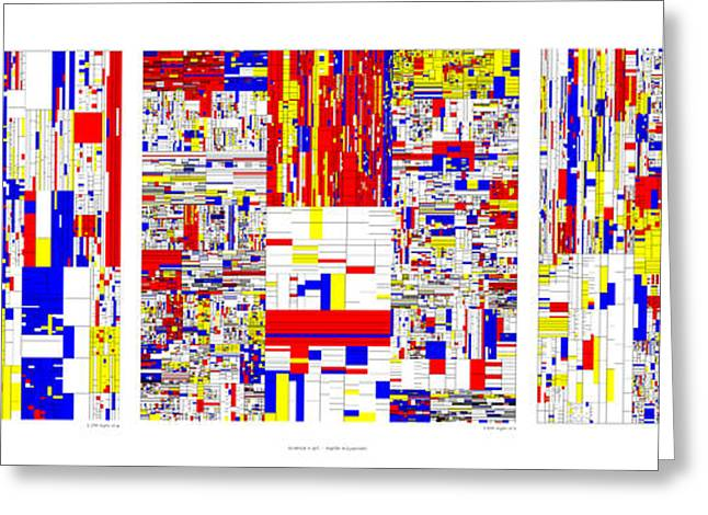 Digits Of Pi Phi And E In A 6 Level Treemap Greeting Card by Martin Krzywinski