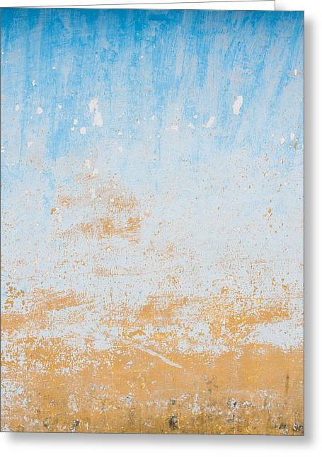 Dilapidated Beige And Blue Wall Texture Greeting Card