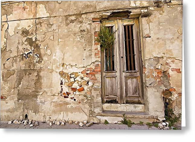 Dilapidated Brown Wood Door Of Portugal II Greeting Card by David Letts