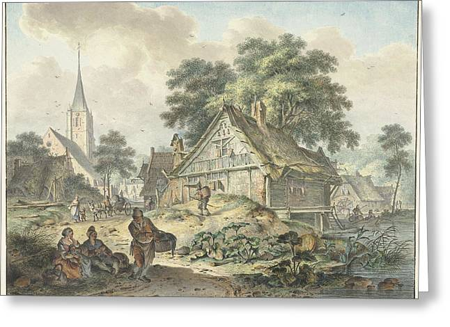 Dilapidated House And Village Church, Hendrik Meijer Greeting Card by Quint Lox